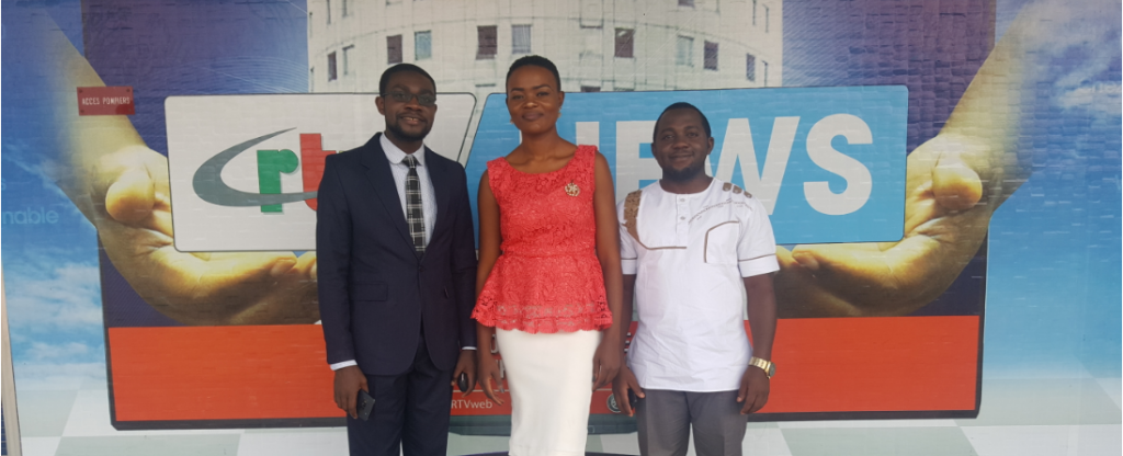 Media tour team, from left Ferdinant Mbiydzenyuy, Nadege Ngeh and Dr. Epie Njume